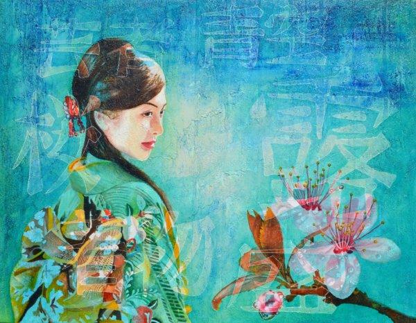 Hanami 104 x 133 cm Öl auf Leinwand