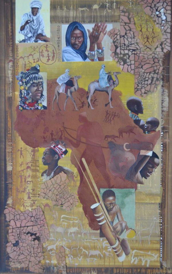 African Ethnies 100×150 cm Öl Sand LW