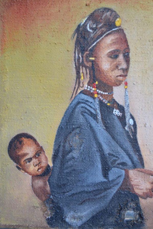 African Mum 60×80 cm Öl auf Jute