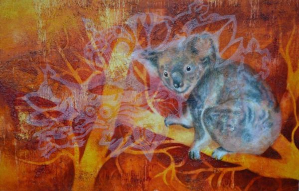 In Australien ( Koala) 75×100 cm Öl Tusche LW