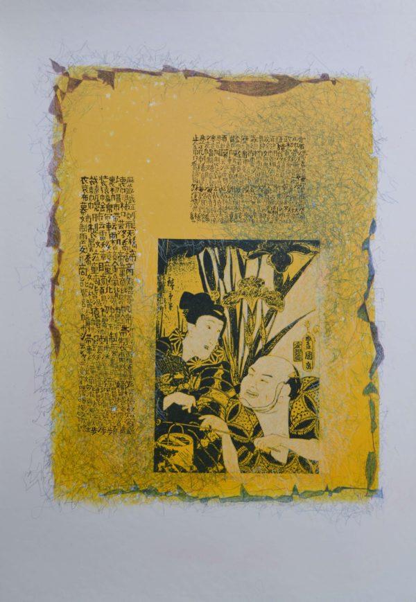Nihon Kaiwa 48×36 cm Gumprint Farbstift auf Papier