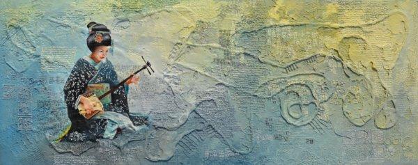 Shamisenspielerin 44×108 cm Öl Acryl LW