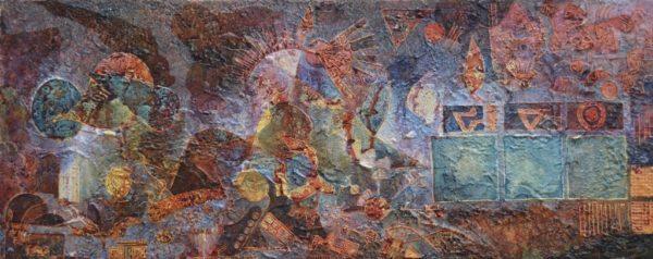 Siena-Umbra-Geschichte 38×93 cm Öl Acryl LW