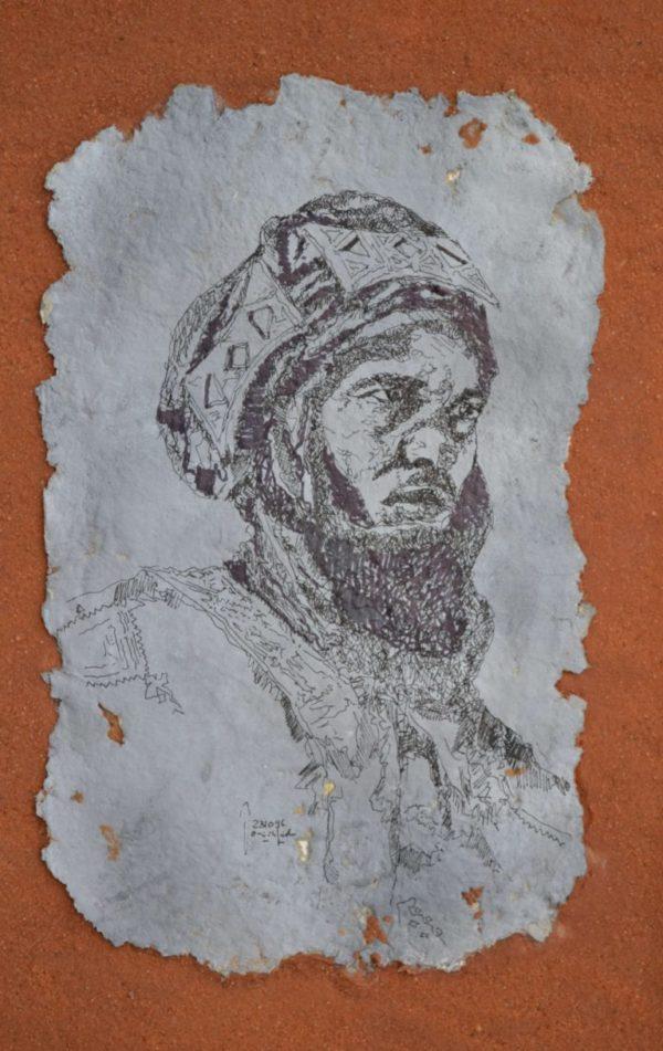 Tuareg 16×23 cm Tusche selbstgeschöpftes Papier Sand